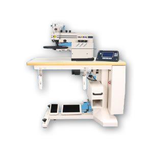 Máquina de dobladillar electrónica para zapatos y otros artículos de piel.