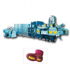 Máquina estática para la producción de suelas